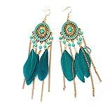 CAOLATOR Boucles d'oreilles en plumes de gland Vintage Accessoires de bijoux idéal cadeau pour petite amie mère fille et femme1 Paires Bleu