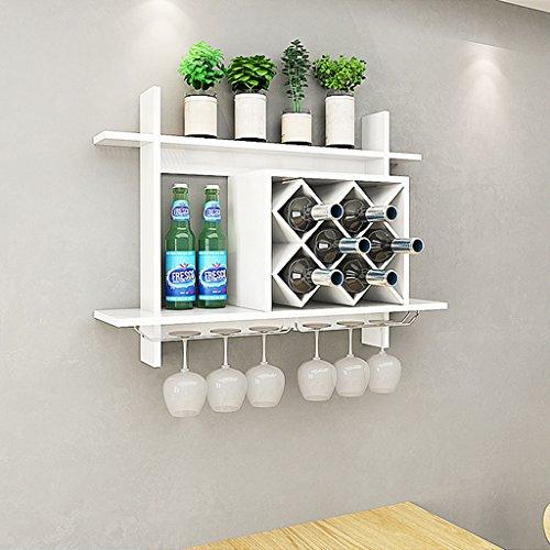 Mensole da parete mensola per il vino in legno massello con portabottiglie in metallo massiccio per bancone bar (colore : bianca, dimensioni : 80x20x58.5cm)