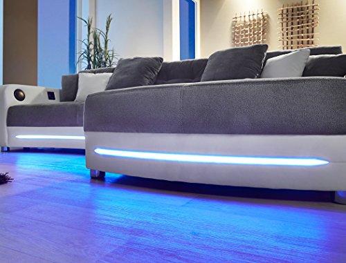 🛋 Multimedia Sofa Larenio HiFi Wohnlandschaft 322x200 cm grau ...