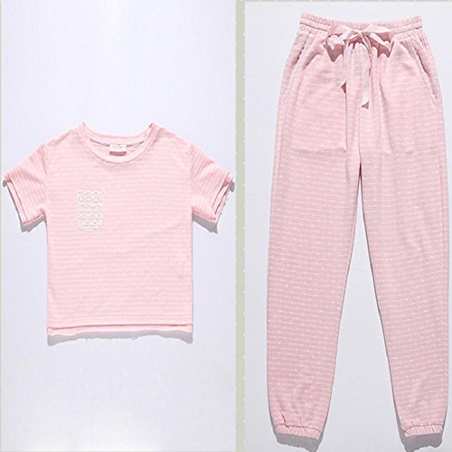 DMMSS Primavera e autunno nuovo pigiama cotone accappatoio corto - donna pantaloni pigiama a maniche , m