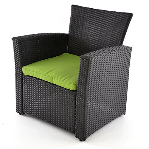 Nexos Rattan Set 4tlg mit Glastisch grün Garnitur Gartenmöbel Sitzgruppe Poly Rattan inkl. Höhenverstellbare Füße und Sicherheitsglas 4-Sitzer 4-teilig - 6