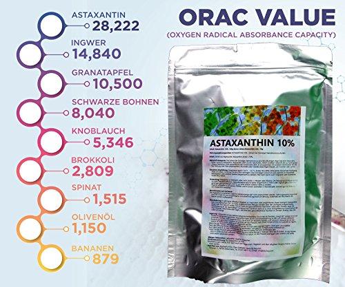 Astaxanthin 10% aus Haematococcus pluvialis (Alge), 100g Pulver, lichtgeschützt, vaccumverpackt (100g)