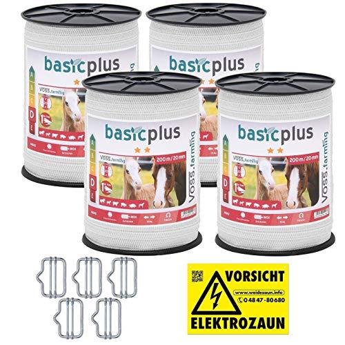 VOSS.farming NEU: Sparpack - Weidezaunband mit 30% mehr Leitfähigkeit - insgesamt 800m + Elektro-Zaun-Band-Zubehör
