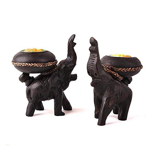 ZHTCDS Sujetavelas Retro Teca Elefante Doble 1Pair Candelero para Cumpleaños Regalo Cena con Velas Decoración
