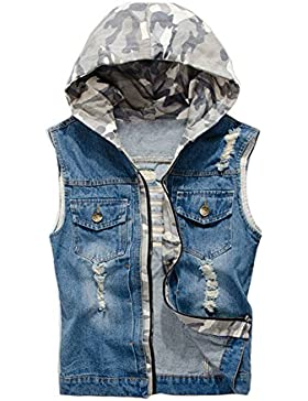 NASKY Hombres Fit Retro rasgada dril de algodón de la chaqueta del chaleco del chaleco chaleco de la tapa(Azul S)