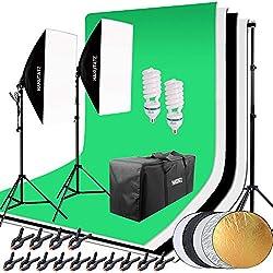 Hakutatz - Set pour Studio Photo Professionnel - Eclairage du studio - Système d'arrière plan de studio - Trépied de lampe Softbox - Avec sac de protection