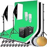 HAKUTATZ Profi Fotostudio Set Studioleuchte Studiosets Hintergrundsystem inkl. 4X Hintergrund(schwarz, 2x weiß, grün) 5-in-1 Reflektor Lampenstativ Softbox Fotografie mit Schutztasche Greenscreen Set