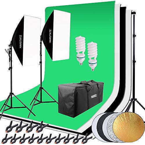 HAKUTATZ® Profi Fotostudio Set Studioleuchte Studiosets Hintergrundsystem inkl. 4X Hintergrund(schwarz, 2X weiß, grün) 5-in-1 Reflektor Lampenstativ Softbox Fotografie mit Schutztasche (Fotografie Ausrüstung)