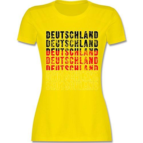 Shirtracer Fußball-WM 2018 - Russland - Deutschland Grunge Typo - Damen T-Shirt Rundhals Lemon Gelb