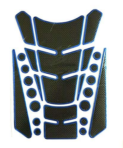 Tankpad Tankschutz Motorrad Carbon Optik Blau Schwarz universal mehrteilig