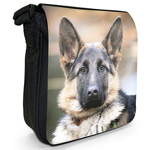 Deutscher Schäferhund Hund Kleine Schultertasche aus schwarzem Canvas Gesunder deutscher Schäferhund Hund