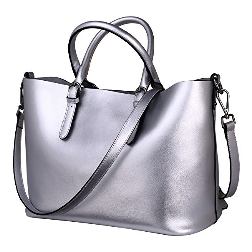 ADEMI Frauen Faux-Leder-Aktenkoffer Messenger Bag Damen Handtaschen Multicolor,Silver-OneSize (Faux-leder-aktenkoffer-tasche)
