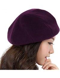 GSCshoe Sombrero Elegante Vintage Sombrero de Boina para Mujer 100% Lana  Boina Francesa Invierno Otoño 6602fe9f1ca
