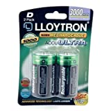 Lloytron D 3000mAh NIMH AccuUltra Battery (Pack of 2)