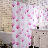 PEVA impermeable espesamiento Anti Mildew ducha cortina cuarto de baño simple (flores rosadas blancas) ( Color : Pink , Tamaño : 220*180cm )