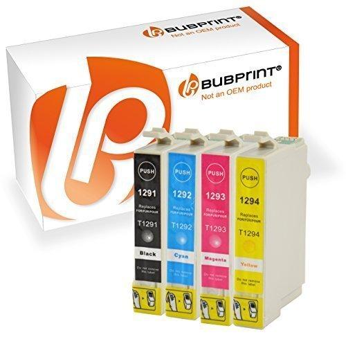 Bubprint 4x Druckerpatronen kompatibel für Epson T1291 T 1291 T1292 T 1292 T1293 T 1293 T1294 T 1294 Stylus SX435w SX 435 w schwarz cyan gelb magenta
