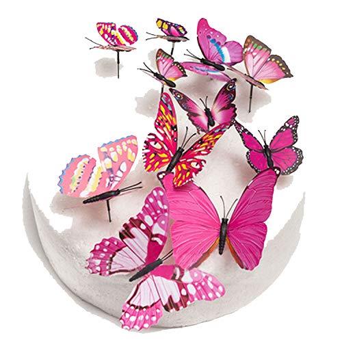 Tortenaufsatz für Hochzeitstorte, Schmetterlingsmotiv, PVC, 12 Stück blau