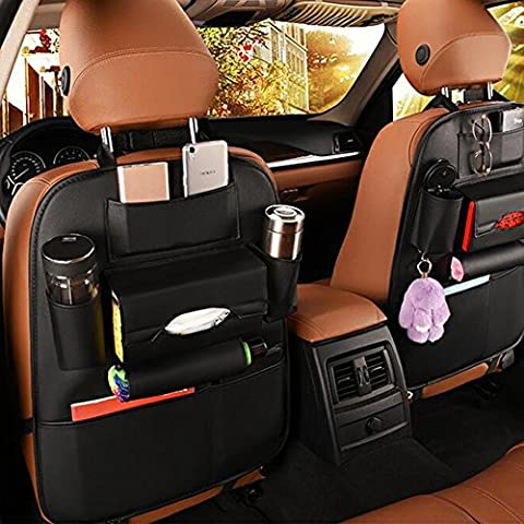 Car Back Seat Tidy Organiser,ZOTO Backseat Storage Hanger Bag Multi-Pocket,PU Leather Made Waterproof Baby Car Travel Organizer,Easy Clean Vehicle Rear Seat Kick Mat Protector for Trunk,Stroller