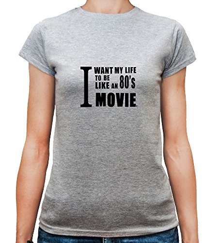 Mesdames T-Shirt avec I want my life to be like an 80's movies Phrase imprimé. Gris