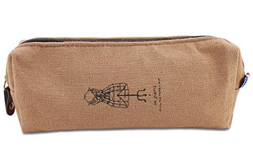 Katara 1803 - Feder Mäppchen Schlampermäppchen Mäppchen, Vintage Retro Paris Look, Schule Uni Büro, Braun (Für Valentinstag-basteln Erwachsene)
