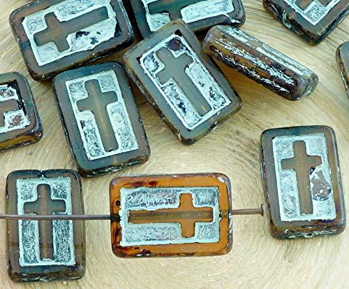 Crystal Cut Cross (2pcs Picasso Crystal Opal Braun Silber Waschen Rechteck Flach-Tabelle Cut Cross christlichen Rosenkranz Kruzifix Halloween-Tschechische Glas-Perlen)