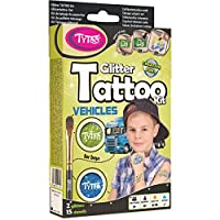 Glitter Tattoo Kit for Boys with 15 amazing Vehicles Stencils - HYPOALLERGENIC AND CRUELTY FREE - 8-18 lasting temporary tattoos