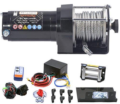 Power Series® 12V Elektrische Seilwinde 3000 Eco mit Funkfernbedienung und Handschalter - Zugkraft 1360 kg (Stahlseil) / 2720 kg (mit Umlenkrolle) (Atv Motor Teile)