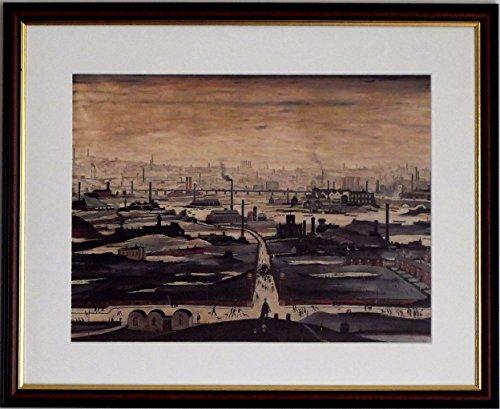 L S Lowry Spezialität Print/Bild-Industrie Landschaft-auf einem Leinen Struktur Medium, Walnut Finish Frame With Soft White Mount And Large Image, 20 x 16inch -