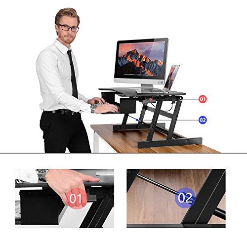 ER Healthy Sit-stand Desktop Computer Workstation | Height-adjustable Standing Desk | Raising and Lowering to Various Positions for Ergonomic Comfort (Black)