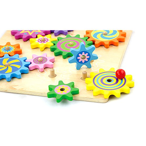 VIGA Wooden Spinning Gears & Cogs - Childrens Toddler Activity Play Toy