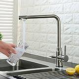 Grifo de acero inoxidable # 304 - Grifo de cocina, 2 salidas combinadas agua, 5 Años Garantía - NT15I