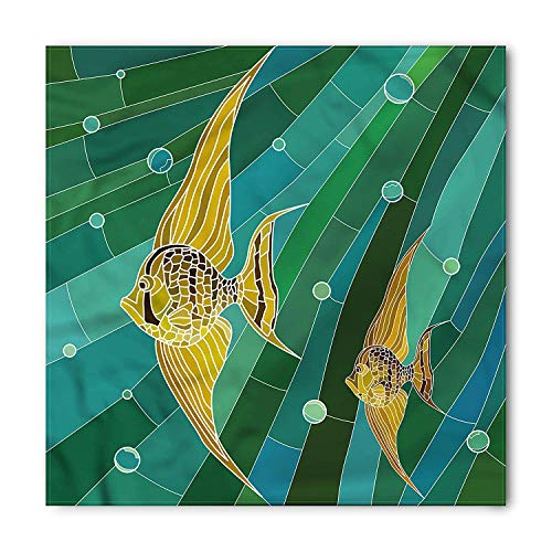 VVIANS Mosaic Bandana, Fishes with Long Fins Art, Unisex Head and Neck Tie S60*60CM