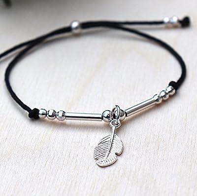 bracelet cordon au choix plume jonc et perles en argent 925