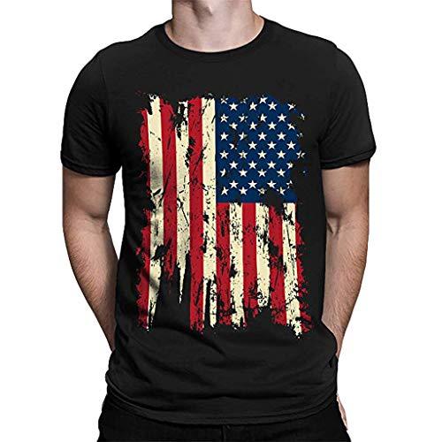 Tohole Herren T-Shirt Bedruckt Kurzarmshirt Top Print Shirt Casual Basic O-Neck Mit Print Aufdruck Kurzarm-T-Shirt Mit Rundhalsausschnitt Und MäNnerflagge(schwarz,L)