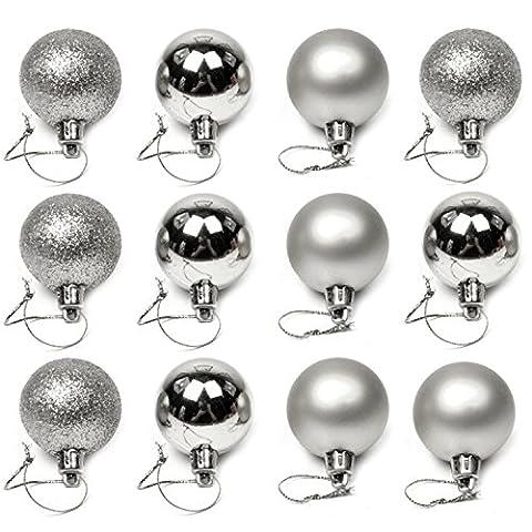 Vococal® 24 Stk 4cm Weihnachtskugeln / Christbaumkugeln / Baumschmuck Christbaumschmuck Kugeln / Weihnachtsbäume Ornament Kugeln / Hochzeitsfeiern Baum Deko Anhänger, Silber
