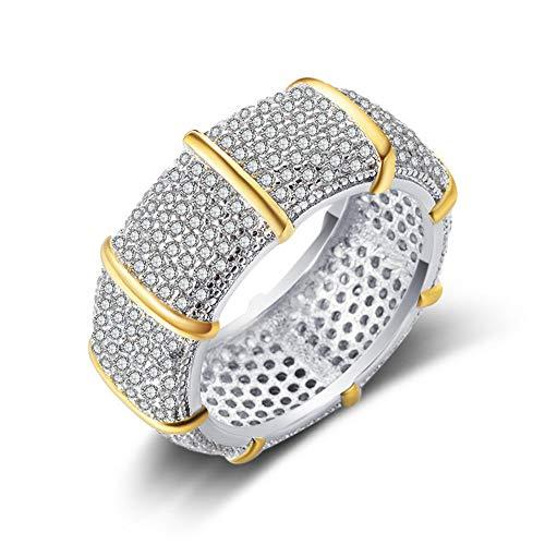 Yazilind Luxus Gehobenes Weißes Gold Überzogen Simulation Diamon Ring für Frauen Engagement Braut Ring Hochzeit Finger Schmuck 17.2