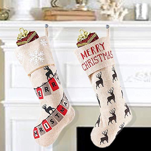 Valery Madelyn 48CM Decorazioni Natalizie Calze di Natale Set di 2 Stivali di Natale Calza...