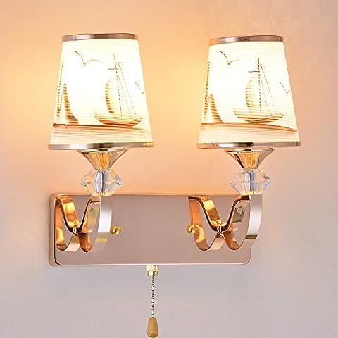 BESPD Modernes, minimalistisches Goldene Uhr Kristalle mit Schalter Treppe Studie führte warmen Schlafzimmer Wand über Licht, Dual Head + ziehen + Schalter LED-Lampe B