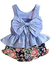 SMARTLADY 3~7 años Niñas chaleco del arco + Pantalones cortos del Florales