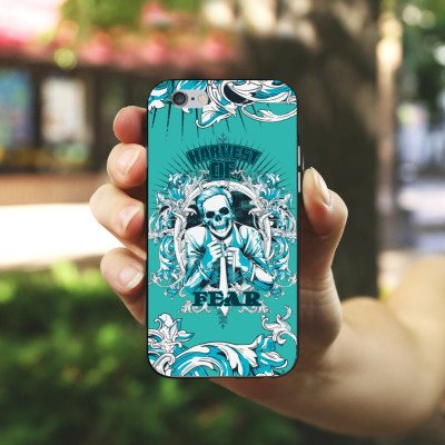 Apple iPhone 4 Housse Étui Silicone Coque Protection Mort Faucheur Fear peur Housse en silicone noir / blanc