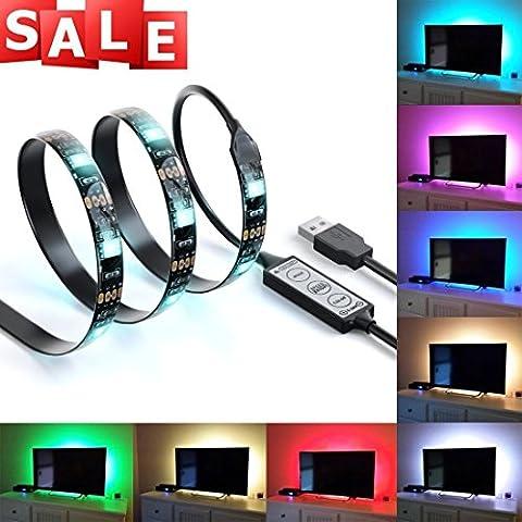 Suparee multicolor RVA de 90 cm / 2.95 pies USB Tira de luz LED TV kit de iluminación de fondo con USB 30 PCS Cable SMD 5050 ULTRA CLARO para la pantalla plana de HDTV monitor LCD de PC de escrtorio.