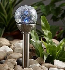 solarleuchte solar kugel mit 1 wei en led edelstahl glas garten deko leuchte bruchglas mosaik. Black Bedroom Furniture Sets. Home Design Ideas