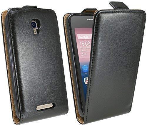 ENERGMiX Handytasche Flip Style kompatibel mit Alcatel One Touch Pixi First 4024D in Schwarz Klapptasche Hülle