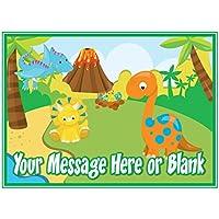 Decoración para tarta de dinosaurio de dibujos animados personalizable A4 (o más pequeño a petición