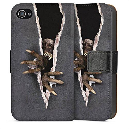 Apple iPhone 4 Housse Étui Silicone Coque Protection Monstre Griffes Animal Sideflip Sac