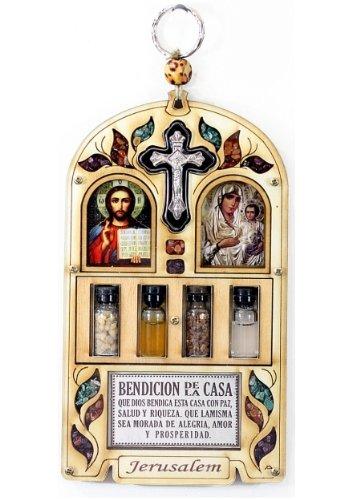"""Sacra Famiglia """"Maria Christ di crocifisso Home Blessing"""", con pietre semipreziose, idea regalo, da appendere a parete"""