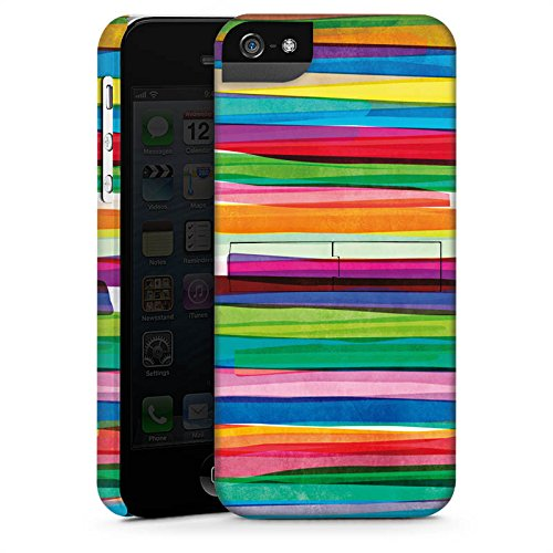 Apple iPhone 7 Tasche Hülle Flip Case Streifen Wasserfarbe Bunt Premium Case StandUp
