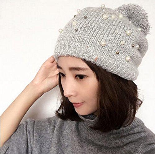 Chapeau Femmes Automne Et Hiver Mode Dingzhu Hairball Chapeau Tricot Chapeau De Dames Grossier Gardez Chapeau Chaud ( couleur : B ) B
