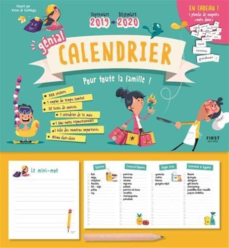 Génial calendrier 2019-2020 pour toute la famille - septembre 2019 - décembre 2020 par Vainui de CASTELBAJAC