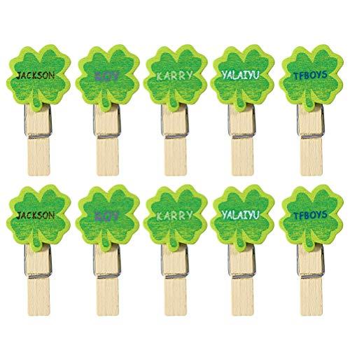 BESTOYARD 50 STÜCKE Mini Holz Handwerk Clips Fotopapier Schöne Vierblättriges Kleeblatt Holz Klammern Foto Clips Hinweis Memo Kartenhalter für St. Patrick's Day Party Favors